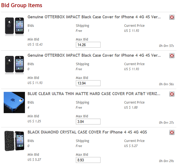 Maximum bids for bid group items
